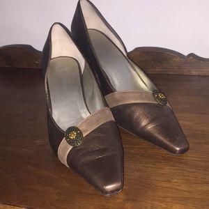 Bronze jeweled leather heels
